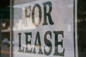 For Lease Sign in window