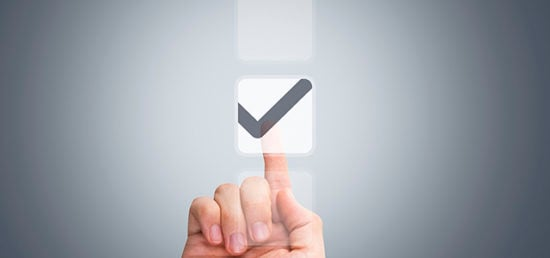 Male Hand Touching Button and Ticking Check Box
