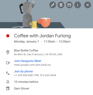 Example calendar event: Coffee with Jordan Furlong showing a real meeting place and a Hangouts Meet link