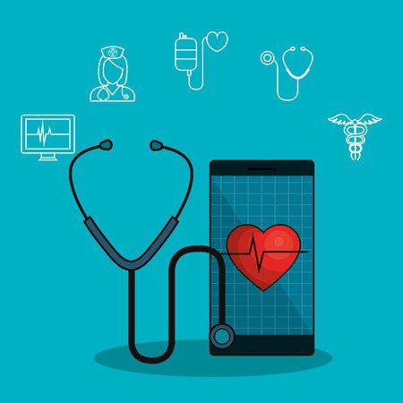 Illustration of stethoscope and mobile phone, symbolizing telemedicine