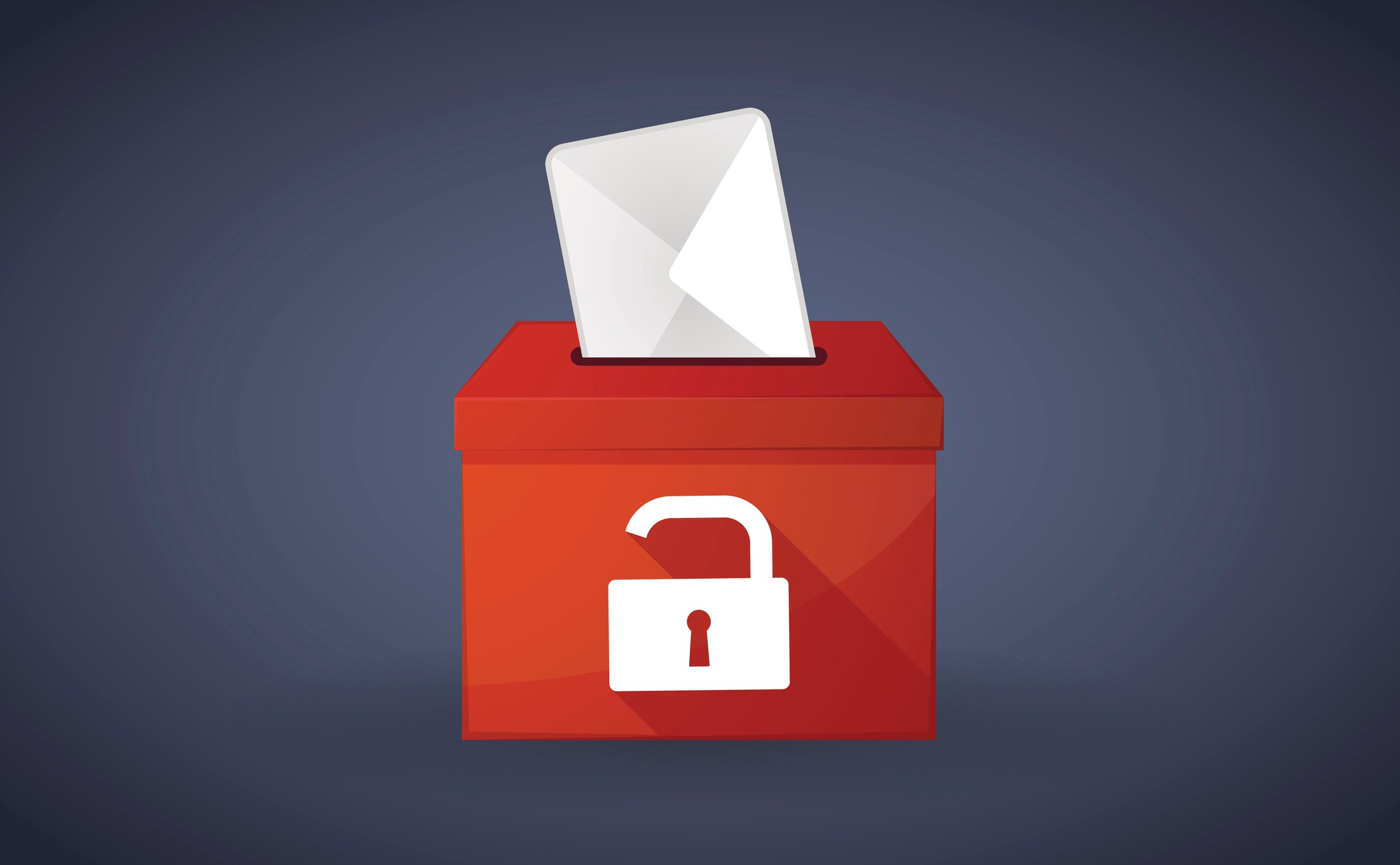 Red ballot box with a lock pad