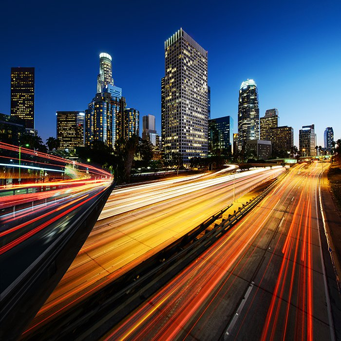 Los Angeles California at sunset with light trails