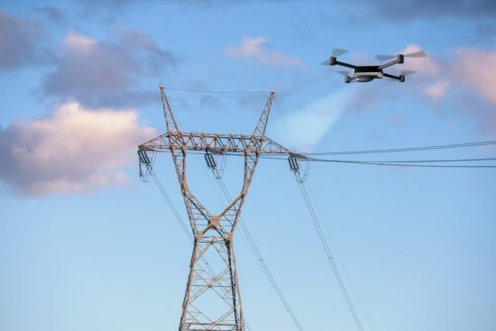 drone electricity power lines