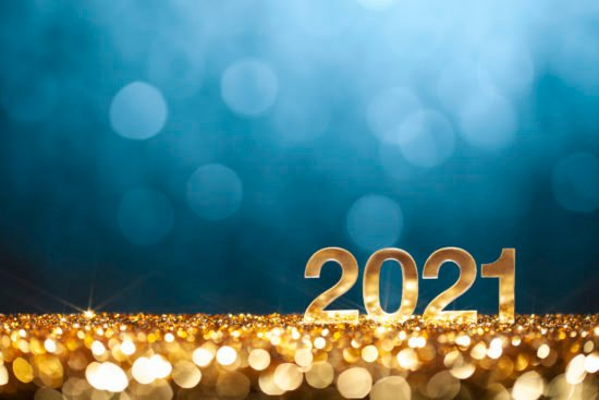 Happy New Year 2021 - Christmas Gold Blue Glitter