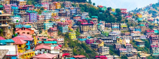 India panoramic landscape of Shimla situated in Himachal Pradesh