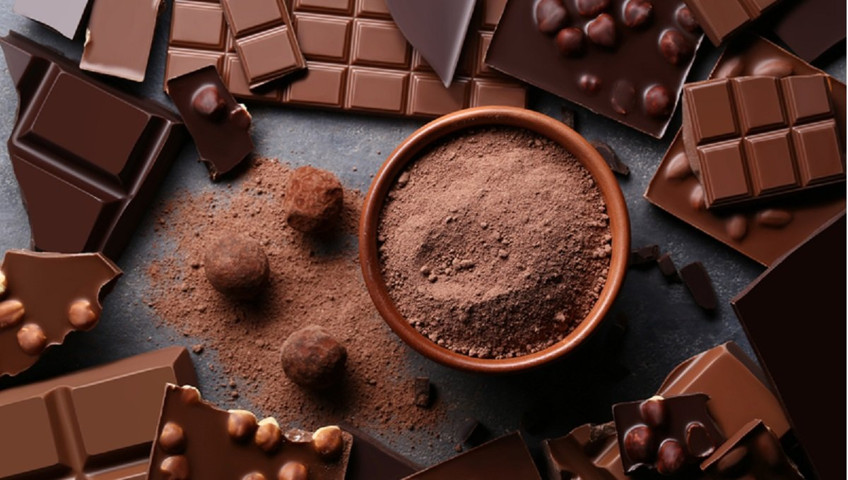 Chocolate pieces with cocoa powder in bowl and balls on wooden table