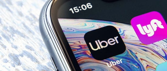 Mobile app Uber on a Apple iPhone XR